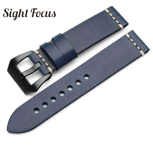20mm 22mm 24mm 26mm Italian Calfskin Watchbands for Panerai Navy Blue Leather Strap Men's Watch Belts Sewn-in Tang Buckle Bands - Gustobene
