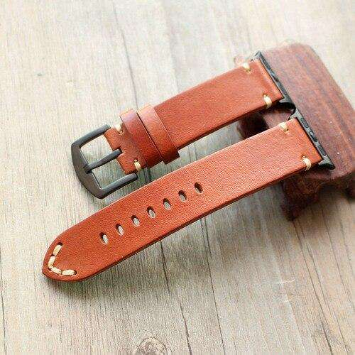 Italian Handmade Adapted watch4 5 For Apple Leather Watch Strap 42MM 44 Soft Skeleton-Skin Cattle - Gustobene