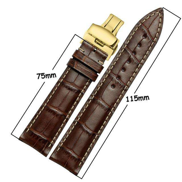 iStrap Fashion  Italian Calf Leather Watchbands Soft Hand Stitched S/S Butterfly Clasp Bracelet  Durable for Tissot IWC Casio - Gustobene