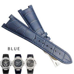 25mm Italian Cowhide Watch Strap Black Brown Blue Folding Buckle Leather Watchband Suitable for PATEK PHILIPPK Series Watch - Gustobene