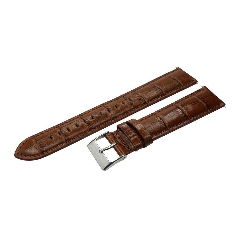 YQI 18mm 20mm 22mm 24mm Watch Strap Italian Calf Genuine Leather Watch Band Light Brown Extra Long Watches for Biger wrist