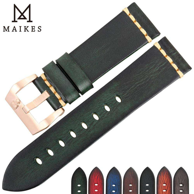 MAIKES Genuine Leather Watch band Vintage Italian Cow Leather Watchband 20mm 22mm 24mm For Longines Tudor Rolex Watch Strap