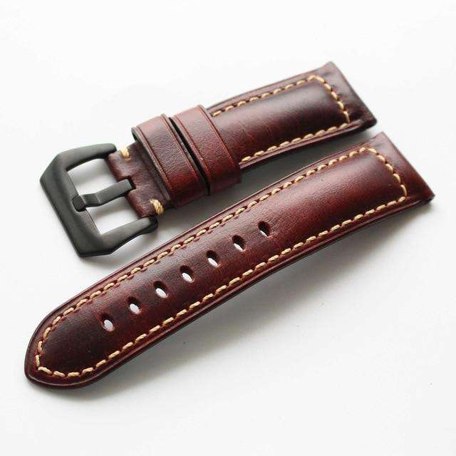 20mm 22mm 24mm 26mm Handmade Italian Brown Vintage Genuine Leather Watch Band Strap for panerai Men Watchband Strap for PAM - Gustobene