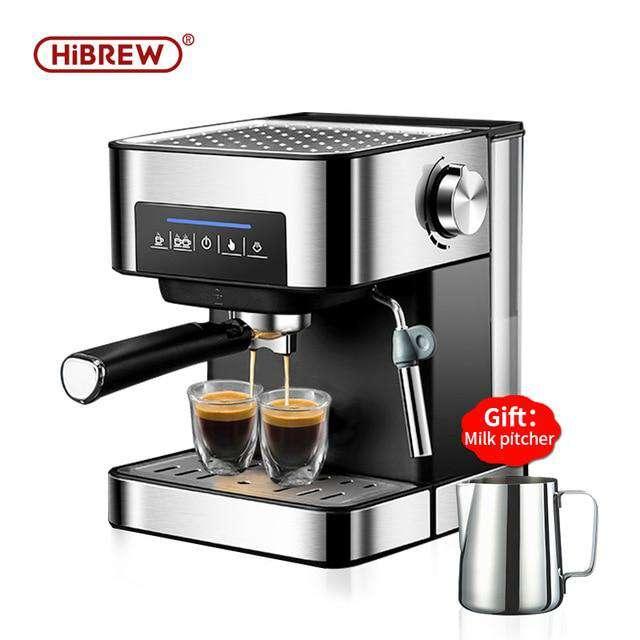 HiBREW espresso coffee machine inox semi automatic expresso maker,cafe  powder espresso maker, cappuccino - Gustobene