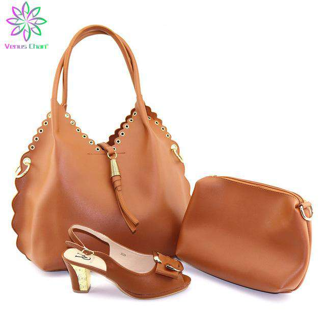 Italian Shoes With Matching Bags Set Hot African Women's Party Shoes and Bag Sets brown Color Women Sandals