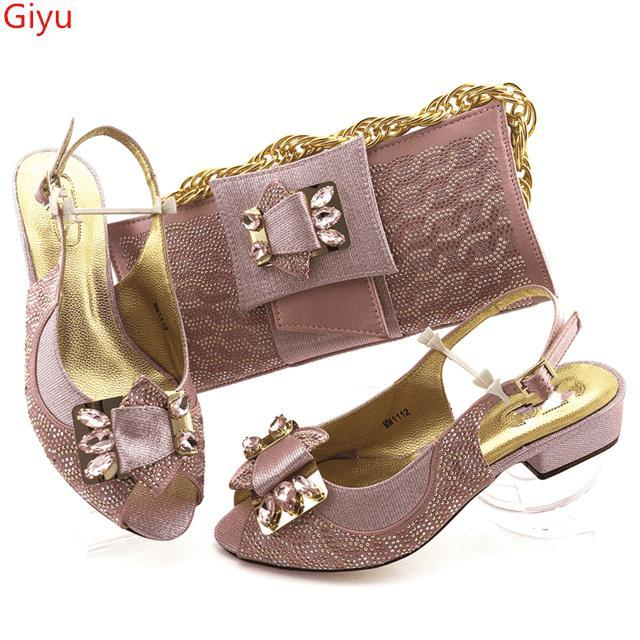 doershow fashion pink Italian Women Matching Shoes and Bag Set Italian Wedding African Shoes And Bag To Match For Party !HAS1-42-Gustobene