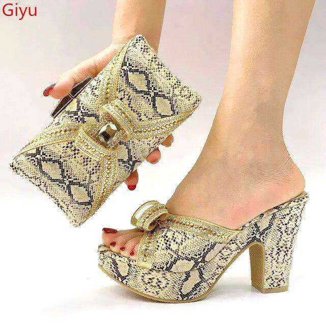 doershow good price African Wedding Shoes and Bag Set Italian Shoes with Matching Bags Nigerian Women party! SLK1-11 - Gustobene