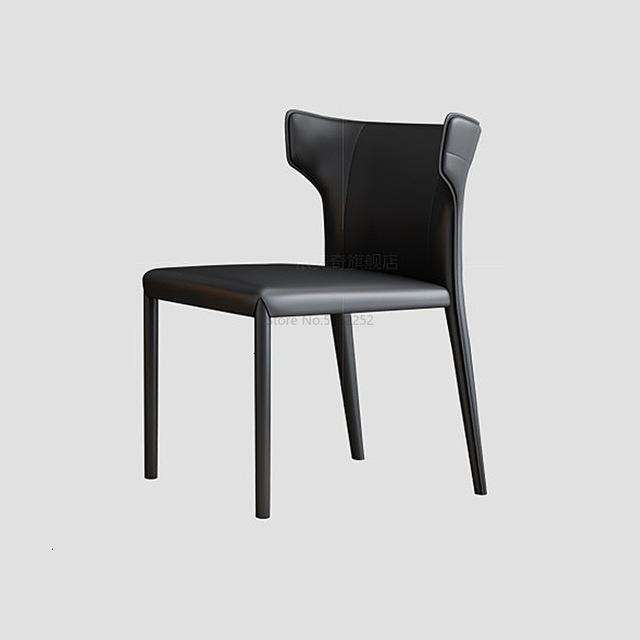 Dining chair simple Italian minimalist leather  North European small family  designer Hong Kong Style Restaurant Hotel - Gustobene