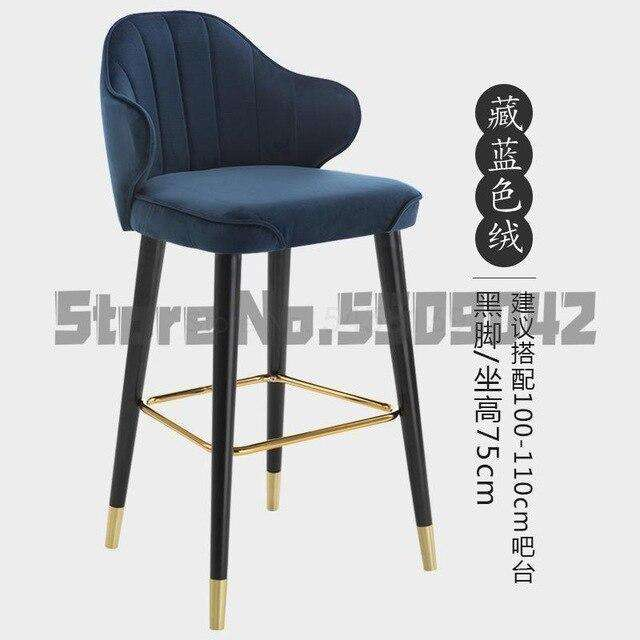 Light luxury solid wood bar chair American high chair Nordic bar chair fashion modern Italian home high stool