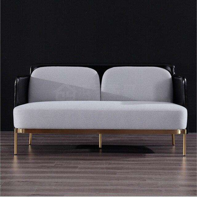 U-BEST light luxury Italian post-modern living room leather art and fabric combined sofa 2 seater