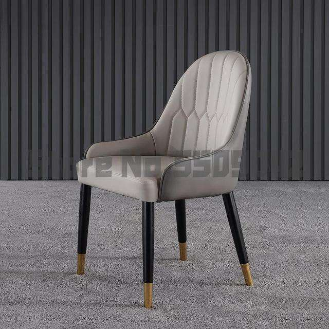 Nordic solid wood dining chair Italian designer leather back restaurant chair post modern light luxury dining chair combination