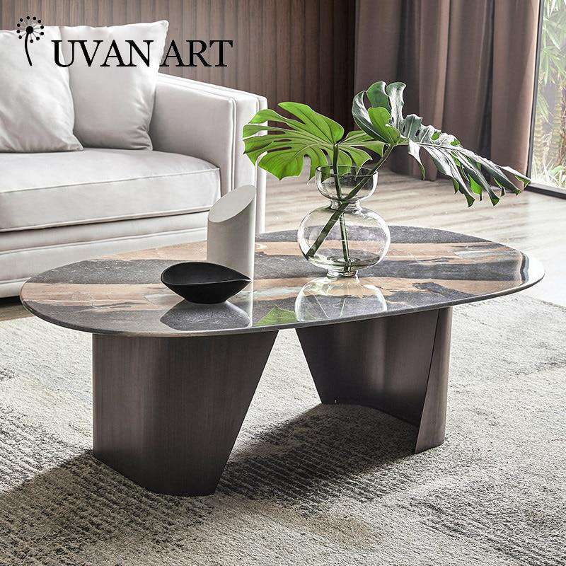 Italian coffee table dining table dual-purpose living room low table oval tea machine table 232B-18 - Gustobene