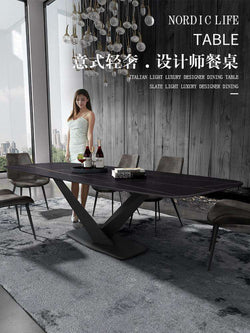 Italian Minimalist Imported Rock Board Table Household Small Family Modern Simple Rectangular Marble Table Chair Combination - Gustobene