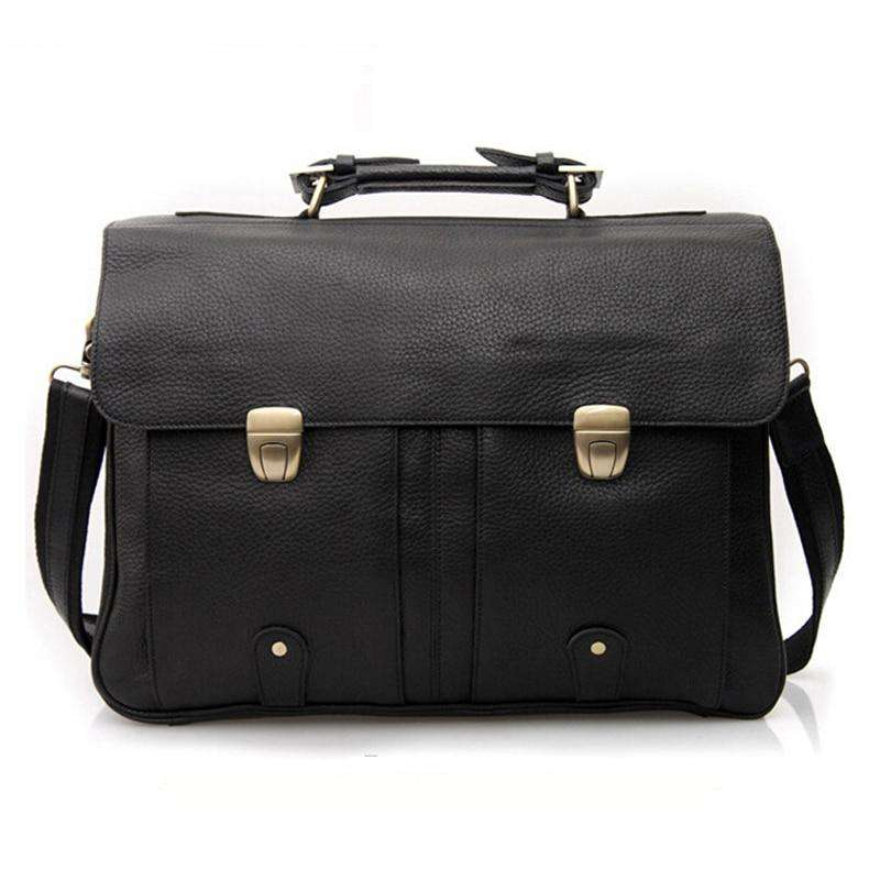 "Fashion Men Leather Briefcase Portfolio men briefcase large Business bag 15""laptop bag male office bag  Tote attache case Black - Gustobene"