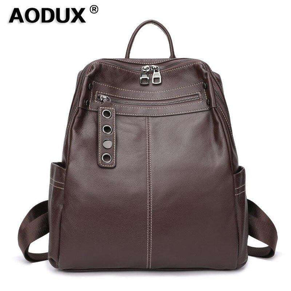Aodux Soft Calfskin Italian 100% Genuine Leather Yak Skin Shoulder Women Backpack Female Lady Coffee Black Cowhide Bag Backpacks - Gustobene