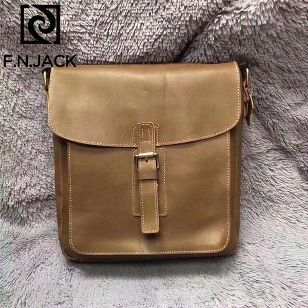 F.N.JACK Italian Handicraft Top Mad Horse and Cowhide Leisure Fashion Men's Slant Bag Genuine Leather Sequined Lock 2019 - Gustobene
