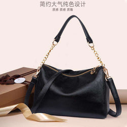 2020 Black Solid Women's luxury Italian Soft Leather Handbags Ladies Shoulder Bag Big Capacity Deep Blue Crossbody Bag for Women - Gustobene