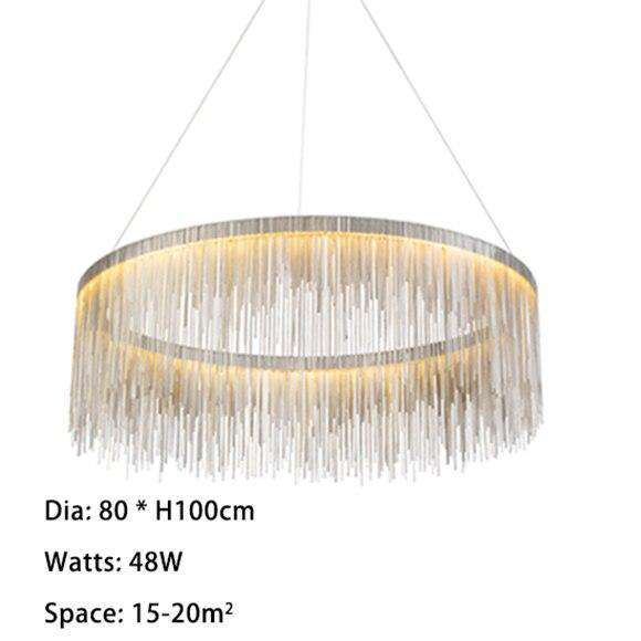 Italian Design Silver Art chandelier Engineering Design Luxury Chain Tassel Aluminum Chain LED Beautiful chandelier Lighting - Gustobene
