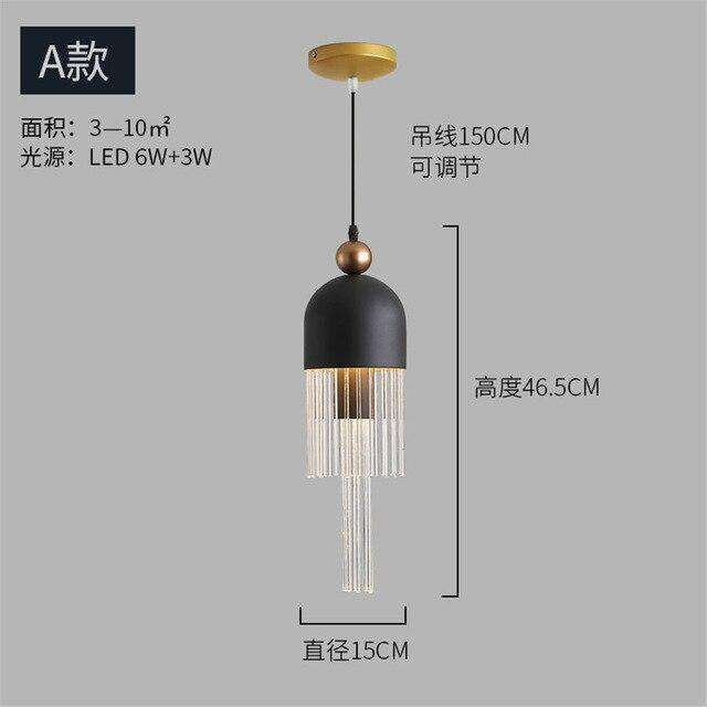 nordic Italian design tassel luxury pendant lights for living room clothing store villa suspension luminaire led hanging lamp - Gustobene
