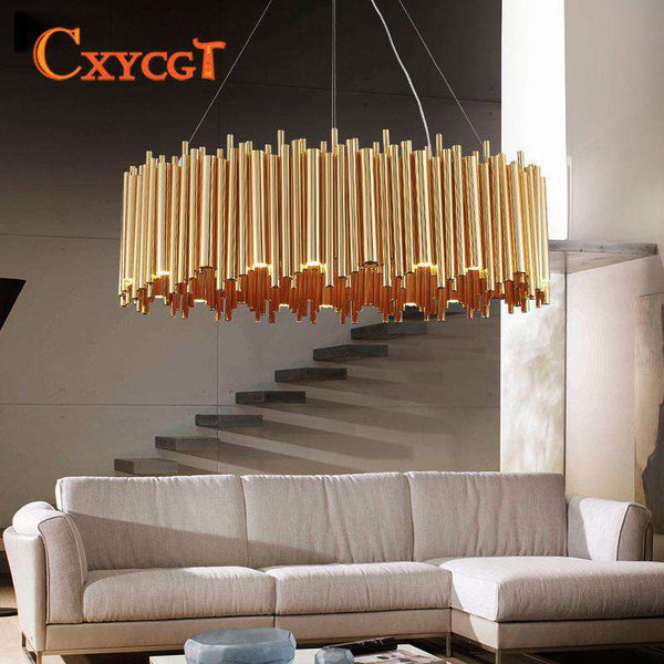 Italian Metal Tube Oval Round Creative Design pendant light for Restaurant Kitchen Decorative Lighting - Gustobene