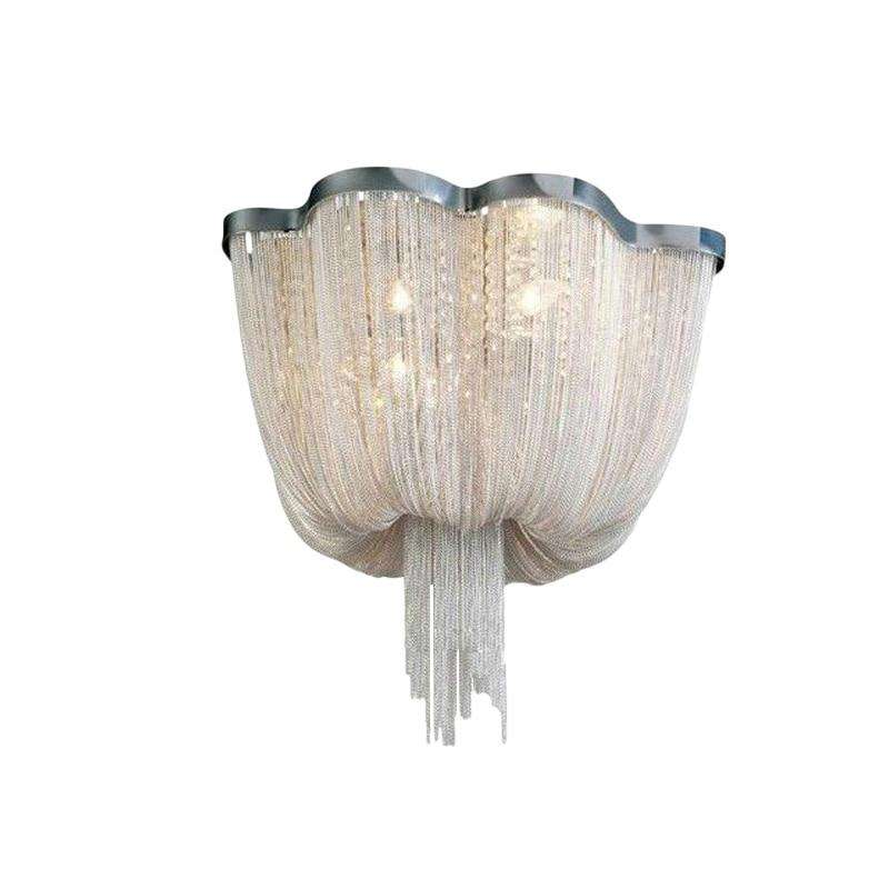 Italian Modern creative living room decor Aluminum tassel ceiling light warm romantic bedroom Art Luxury crystal ceiling lamp - Gustobene