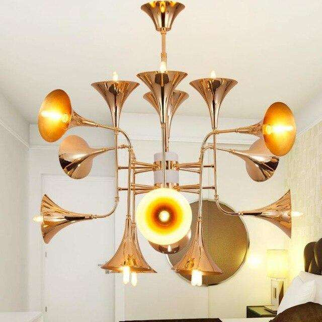 Delightfull Botti Flared Trumpet lamp Rose Gold Chandelier italian design 12/16/24 head Kitchen Island  suspension lamp - Gustobene