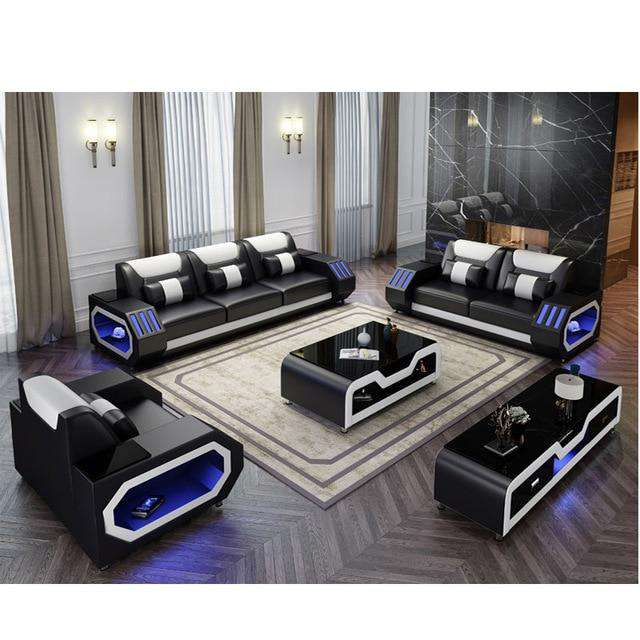 LED lights modern sofa set - Gustobene