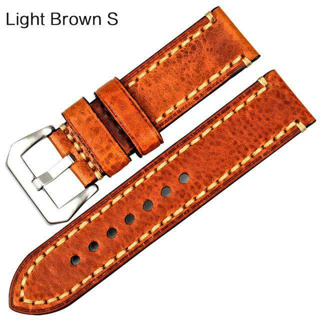 MAIKES New fashion watch accessories 20 22 24 26mm Italian leather watchbands red watch strap for Panerai watch band bracelet - Gustobene