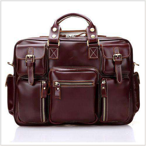 "Luxury Italian Genuine Leather Men's Briefcase Big Business Bag Leather Men's 15""laptop bag Tote Large Handbag free shipping - Gustobene"