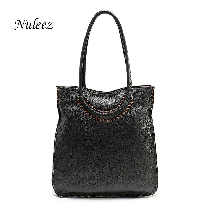 Nuleez Italian Leather Bag Real Leather Women Shoulder Handbags Red Genuine Leather Kraft Bag Crossbody Big Handbags Female 1205 - Gustobene