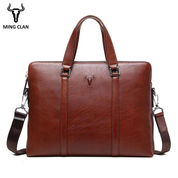 "15"" Leather Laptop Bag Made of Italian Leather Bags Double Zipper Briefcase Handle Shoulder Strap Durable Office Bags for Men - Gustobene"