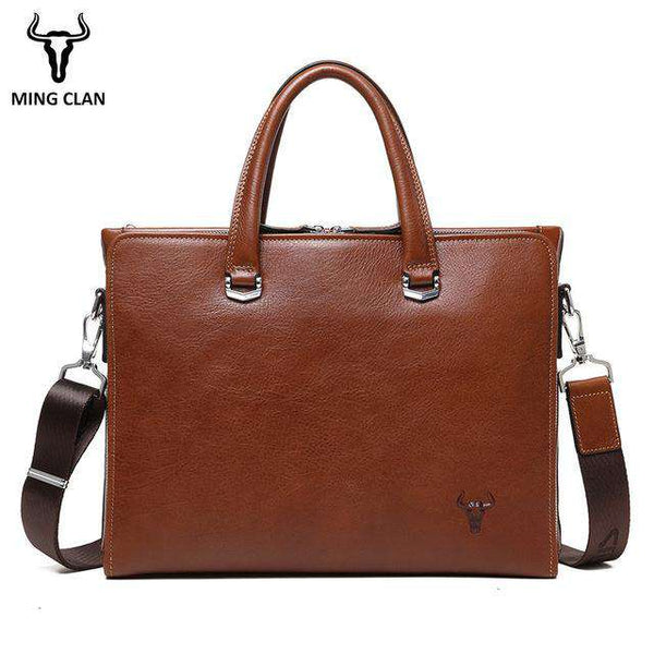"Business Bag Made of Italian Vegetable Tanned Leather Mens Briefcase Brown 14"" Computer Bags Vintage Handbag for Men Brief Case - Gustobene"