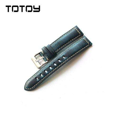 TOTOY Handmade Italian Leather Watchbands, 18MM 20MM 22MM Retro Oily Gloss Watch Strap, Blue Green Red Brown  Men Leather Strap