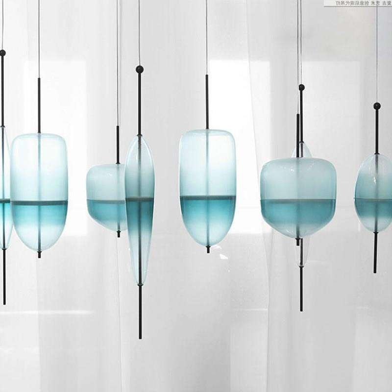Blue chromatography Italian design lamp pendant light Lake of Venice Blue gradient Simple Peaceful Pure pendant lighting glass - Gustobene
