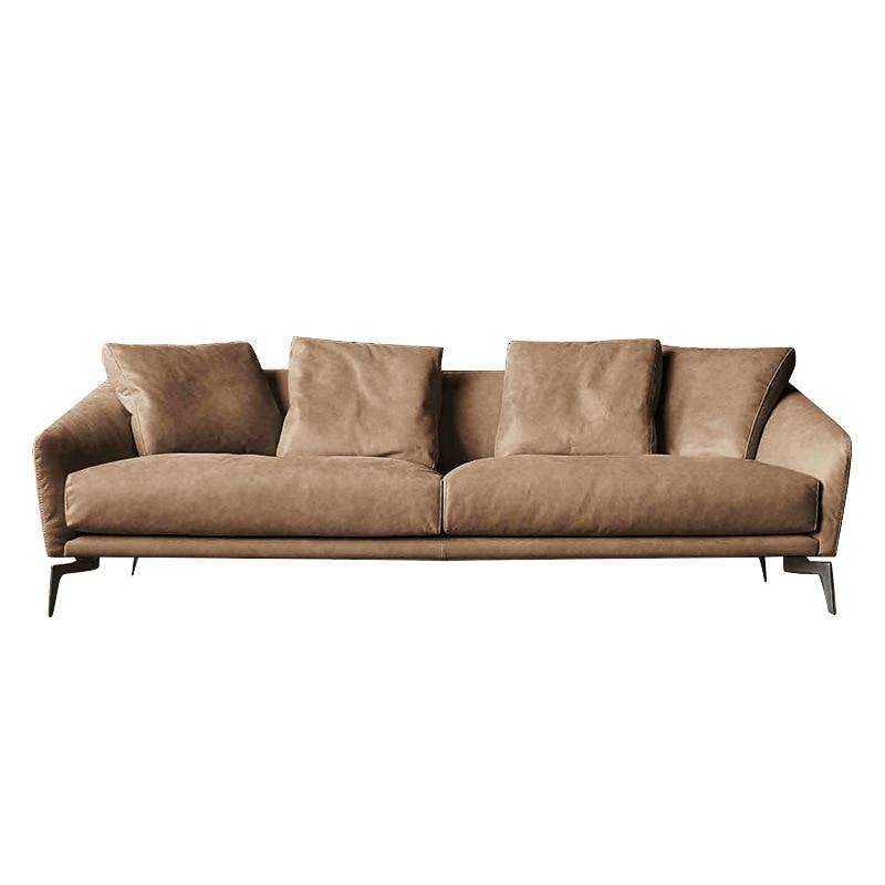 Nordic minimalist Italian style leather sofa modern minimalist living room first layer leather three-person down sofa