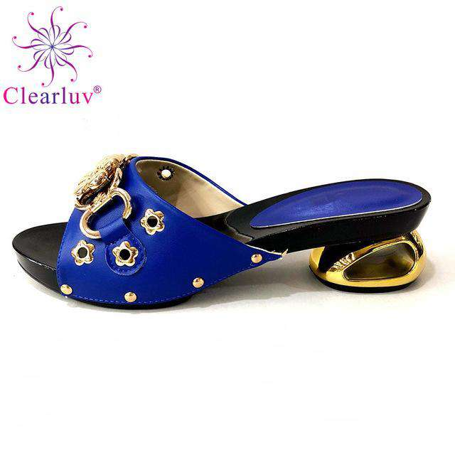 Italian Nigerian Party Shoes Without Bag Set Royal Blue Fashion Slipper Wedding African Shoes Not Matching Bag Set Women Shoes - Gustobene