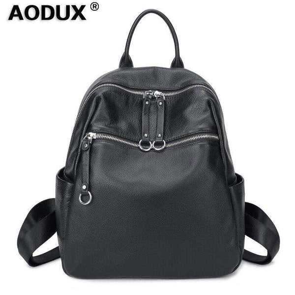 Aodux 100% Soft Natural Calfskin Italian Genuine Leather Shoulder Women Backpack Female Lady Coffee Black Cowhide Bag Backpacks - Gustobene