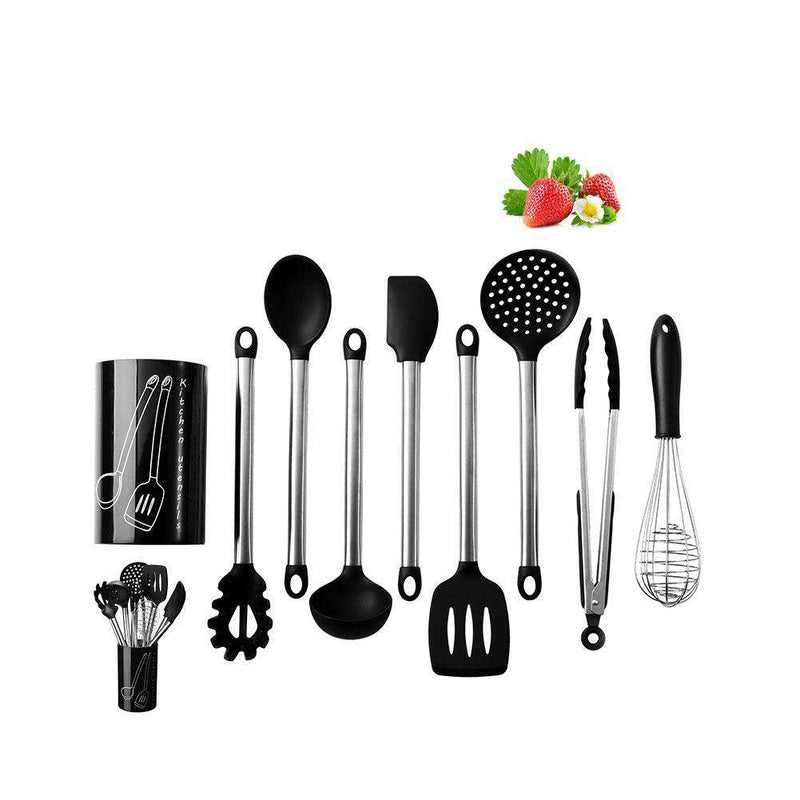 LumiParty 9Pcs/Set Silicone Stainless Steel Kitchen Utensil Set Simple Exquisite Kitchen Ware -35