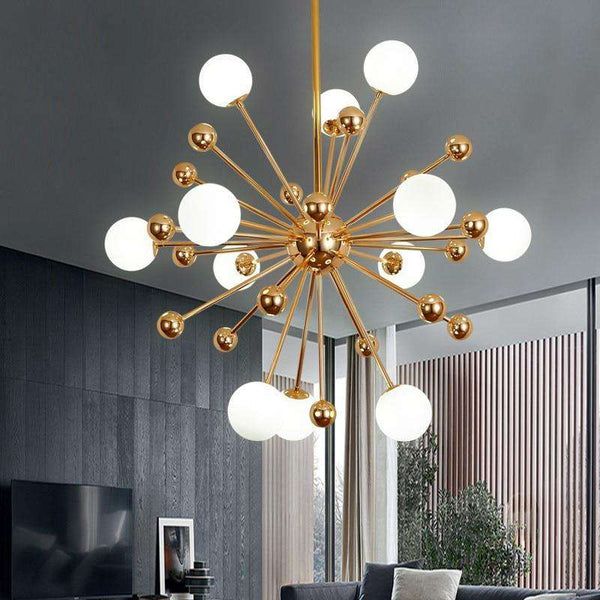 Globe chandelier Lighting Kitchen Restaurant golden chandelier plexiglass acrylic molecule sputnik lamp italian chandelier - Gustobene