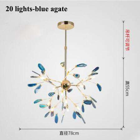 Italian design tree chandelier lamp Bedroom Living room Kitchen scandinavian chandelier natural Agate Decor luminaria pendente - Gustobene
