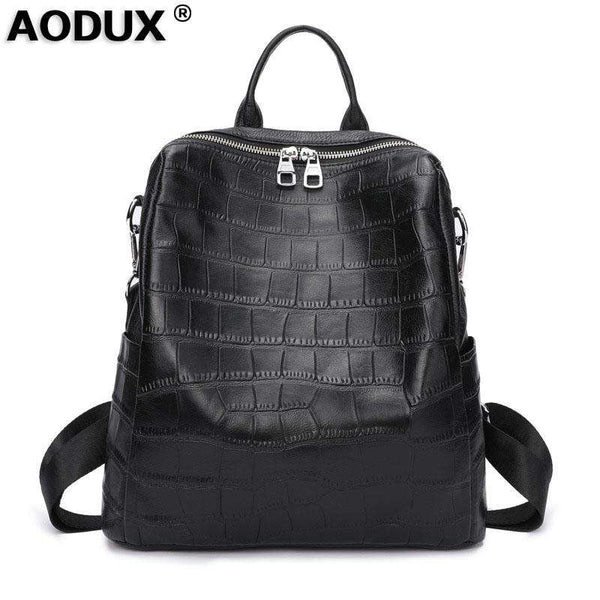 Aodux New Soft Calfskin Italian 100% Genuine Cow Leather Yak Skin Women Backpack Female Lady Coffee Black Cowhide Bag Backpacks - Gustobene