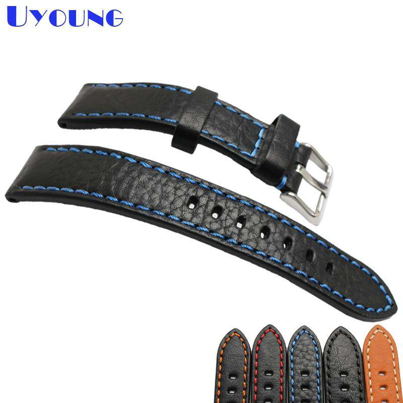 Italian cowhide watch band leather watch strap 20mm 22mm 24mm genuine leather watch belt stitched wristband watch accessories - Gustobene