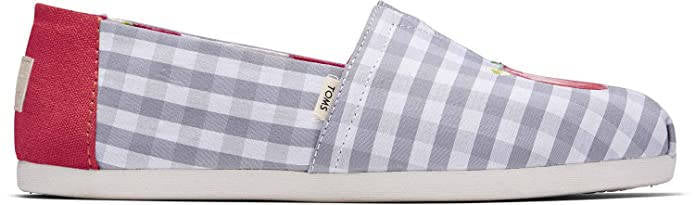 Toms Womens Alpargatas Once Upon a Farm Glacier Grey Gingham
