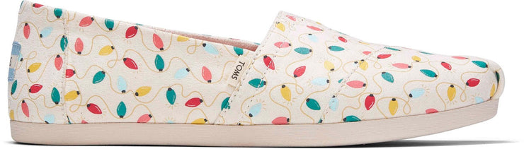 Toms Womens Alpargatas Natural Holiday Lights Glow In The Dark Faux Fur