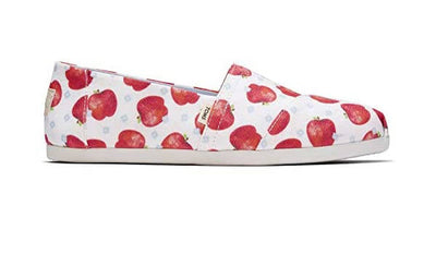 Toms Womens Alpargatas Once Upon a Farm White Apple Print