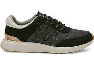 Toms Womens Arroyo Sneakers Black Canvas with Shiny Woven