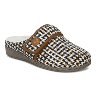 Vionic Womens Carlin Slipper Houndstooth Cream