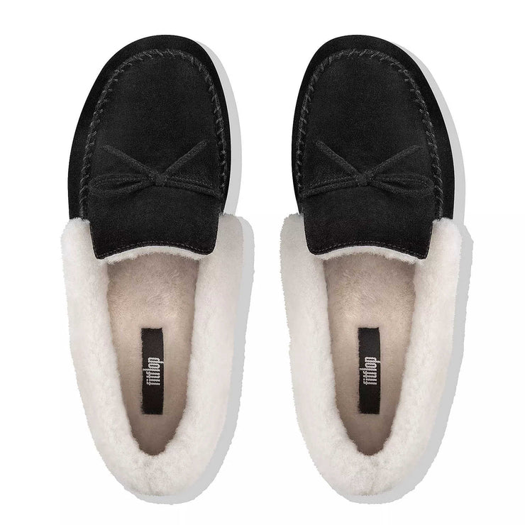 FitFlop Womens Clara Shearling Suede Moccasin Slippers Black