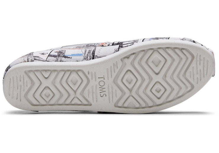 Toms Womens Classic Canvas White Star Wars AT-AT Print
