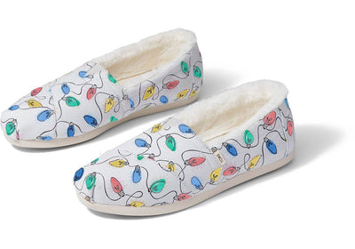 Toms Womens Classic Glacier Grey Glow In The Dark Lights Print with Faux Fur